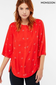 Monsoon Red Annabelle Print Top
