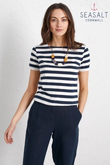 Seasalt Navy/White Stripe Sailor T-Shirt