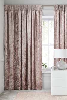 Crushed Velvet Pencil Pleat Lined Curtains