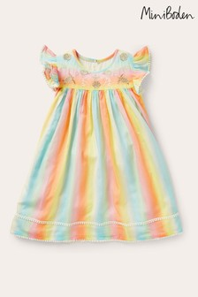 Boden Multi Embroidered Rainbow Dress