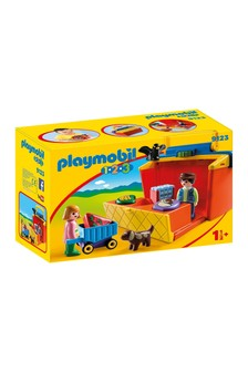 Playmobil® 1.2.3 Take Along Market Stall With Carry Handle And Shape Sorting Function