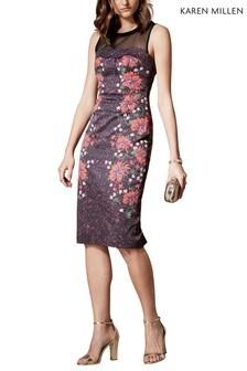 Karen Millen Black Dark Floral And Leopard On Sig Stretch Dress