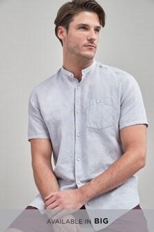 Chemise en lin/coton à col grand-père et manches courtes