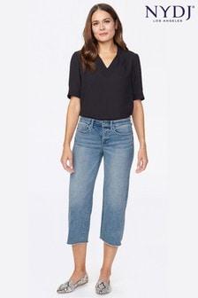 NYDJ Coheed Capri-Jeans mit weitem Beinschnitt und Fransensaum, Hellblau