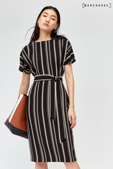 Warehouse Multi Stripe Button Wiggle Dress