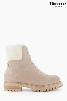 Dune London Natural Perch Faux Sherling Lace Up Boots