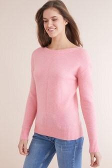 Alpaca Blend Chunky Boat Neck Sweater