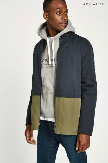 Jack Wills Navy/Green Colliton Outdoor Jacket