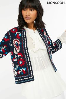 Monsoon Blue Tammy Embellished Jacket