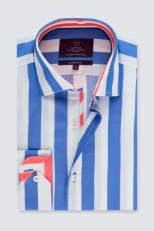 Hawes And Curtis Blue/White Stripe Mid Cuff Shirt