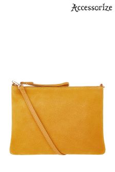 Accessorize Ochre Claudia Leather Crossbody Bag