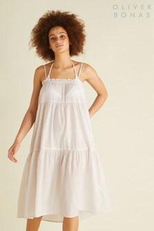 Oliver Bonas White Sparkle Beach Maxi Skirt Dress