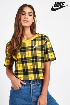 Nike Yellow Plaid Cropped T-Shirt
