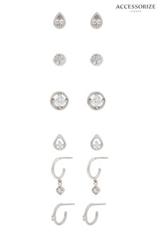 Accessorize Platinum Plated Sparkle Earring Multipack