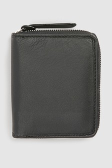 Leather Zip Around Bifold Wallet
