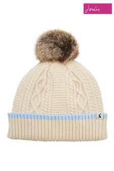 bf9bca02fdc Joules Anya Bobble Hat With Faux Fur Pom