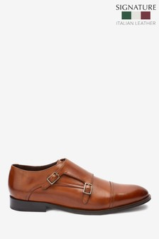 Signature Italian Leather Double Monk Shoes