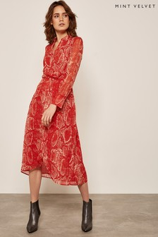 Mint Velvet Red Tori Print Twist Shirt Dress