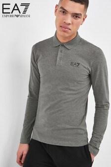 EA7 Grey Long Sleeve Polo