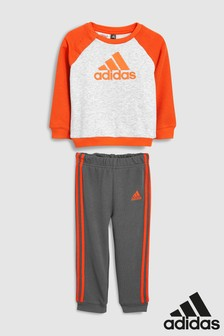 adidas Infant Grey/Red Logo Crew And Jogger Set