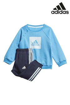 adidas Infant Blue Logo Crew Neck Top And Joggers Set