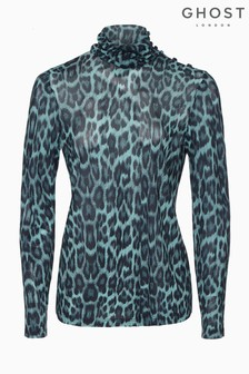 Ghost London Marni Blue Leopard Print Jersey Top