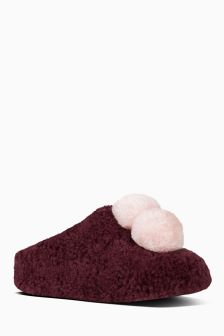FitFlop™ Burgundy House Shoe With Pom Poms