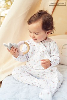 The White Company White Marcie Floral Frill Sleepsuit