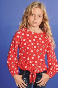 Daisy Print Tie Front Long Sleeve T-Shirt (3-16yrs)