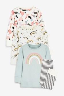 3 Pack Rainbow/Terrazzo Print Cotton Snuggle Pyjamas (9mths-12yrs)
