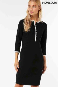Monsoon Black Pippa Ponte Spot Dress