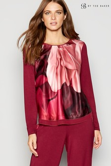 B by Ted Baker Langärmeliges Top aus Jersey, weinrot