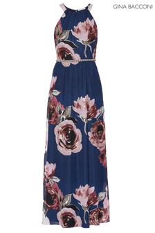 Gina Bacconi Navy Avis Floral Chiffon Dress