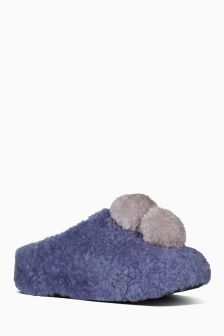 FitFlop™ Purple House Shoe With Pom Poms