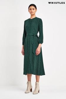 Whistles Green Sprinkle Dress