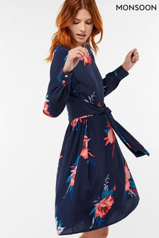 Monsoon Janice Tunika mit Blumen-Print, Marineblau