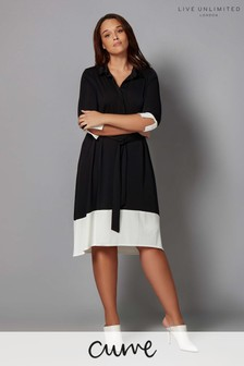 Live Unlimited Black And Ivory French Crepe Dress
