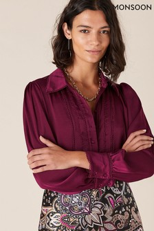 Monsoon Red Peggy Lace Trim Blouse