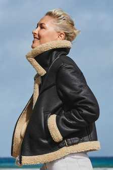 Emma Willis Shearling Style Aviator Jacket