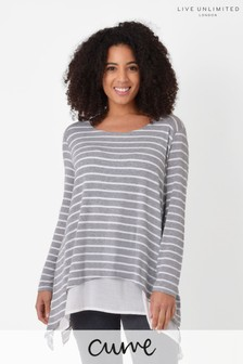 Live Unlimited Curve Grey Stripe Double Layer Top