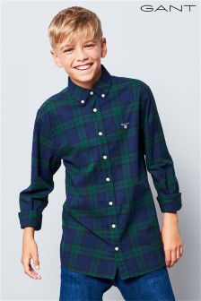 GANT Teen Green Twill Blackwatch Shirt