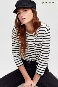 Warehouse Blue Stripe Neppy Top