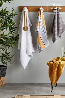Set of 2 Textured Stripe Bath Towels by Catherine Lansfield
