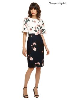 Phase Eight Black/Ivory Heather Floral Contrast Dress