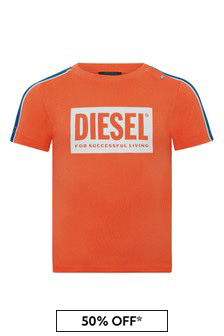 Diesel Baby Boys Orange Cotton T-Shirt