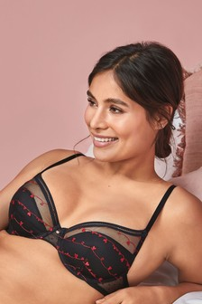 Carrie Lightly Padded Plunge Bra With Embroidery Detail