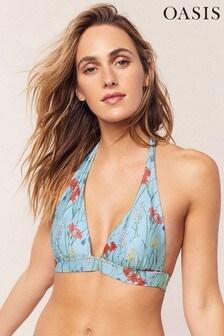 Oasis Blue Flora Textured Bikini Top