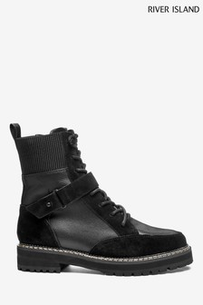 River Island Black Lace Up Hiker Boots