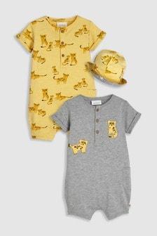 動物圖案連身服兩件裝,附雙面可用帽 (0個月至2歲)
