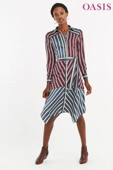 Oasis Natural Stripe Shirt Dress